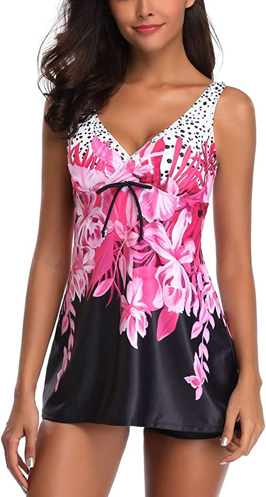 Moonker Women's Elegant Swimdress with Boy Short Ladies Plus Size Floral Printed Two Piece Bathing Suit Swimsuits S-5XL