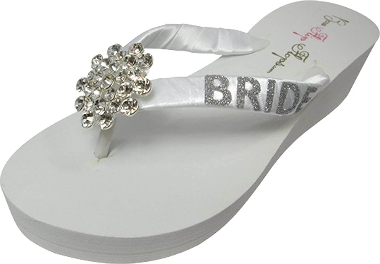 White 2 inch Bride Glitter Large Jewel Rhinestone Flip Flops