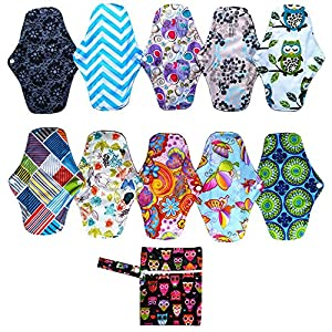 10PCS 10 Inch Bamboo Cloth Reusable Washable Menstrual Pads Sanitary Pads+1PC Wet Bag