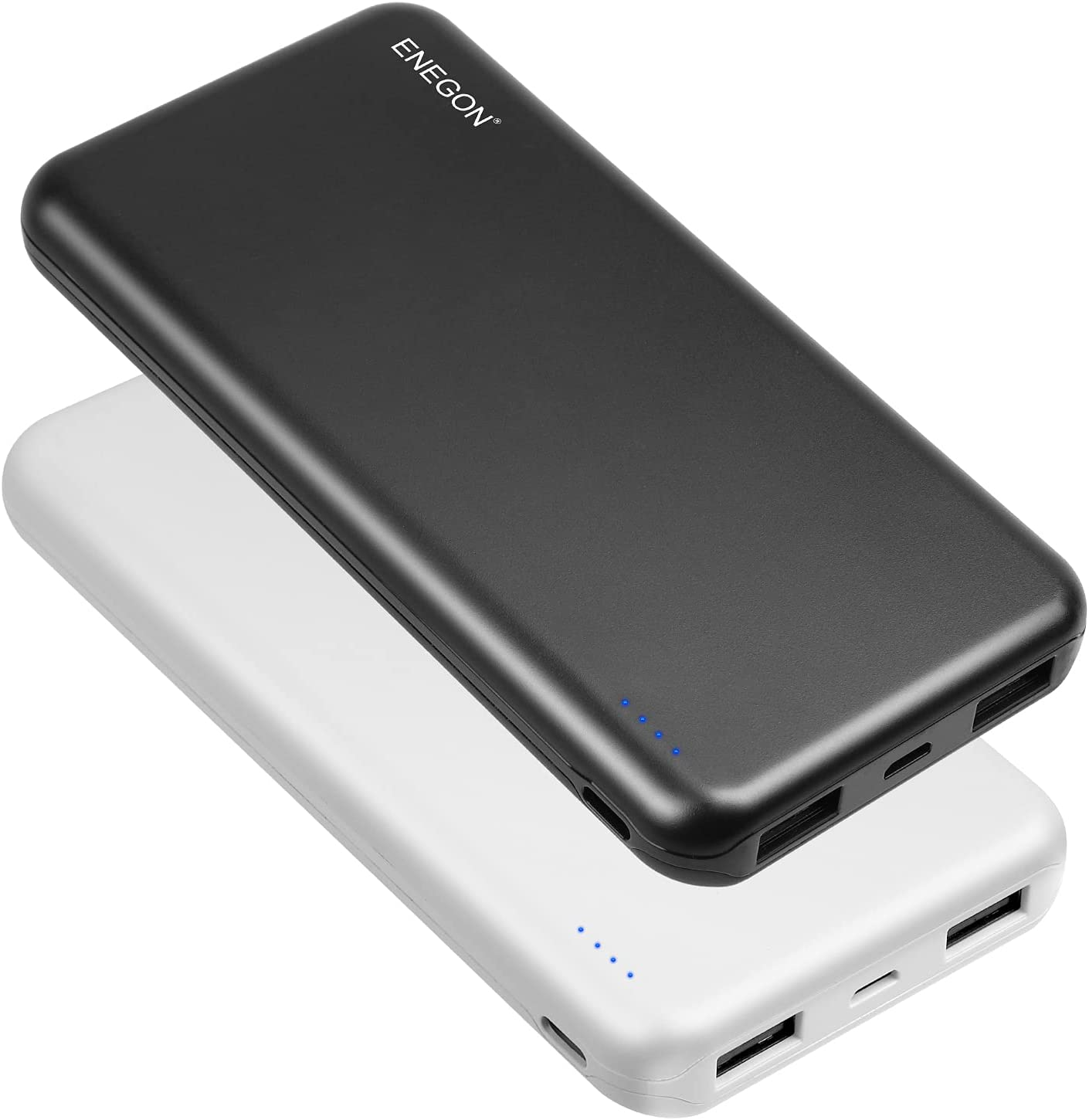ENEGON 2-Pack Portable Power Bank 10000mAh, The Phone Charger Black+White