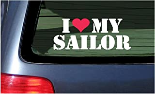I Love My Sailor Vinyl Sticker Decal ~ White with Red Heart
