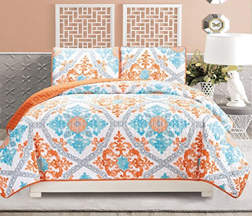 3-Piece Fine printed Quilt Set Reversible Bedspread Coverlet FULL / QUEEN SIZE Bed Cover (Turquoise, Blue, White, Grey, Orange)