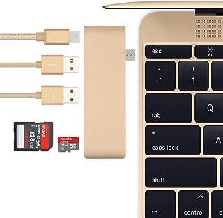 Batianda USBハブ Type-C Hub「5 in 1」Hub 高速USB 3.0ポート / USB-C 充電ポート / SD / TFカードリーダー アルミニウム合金仕上げ コンパクト 多機能 薄型軽量 12インチ MacBook...
