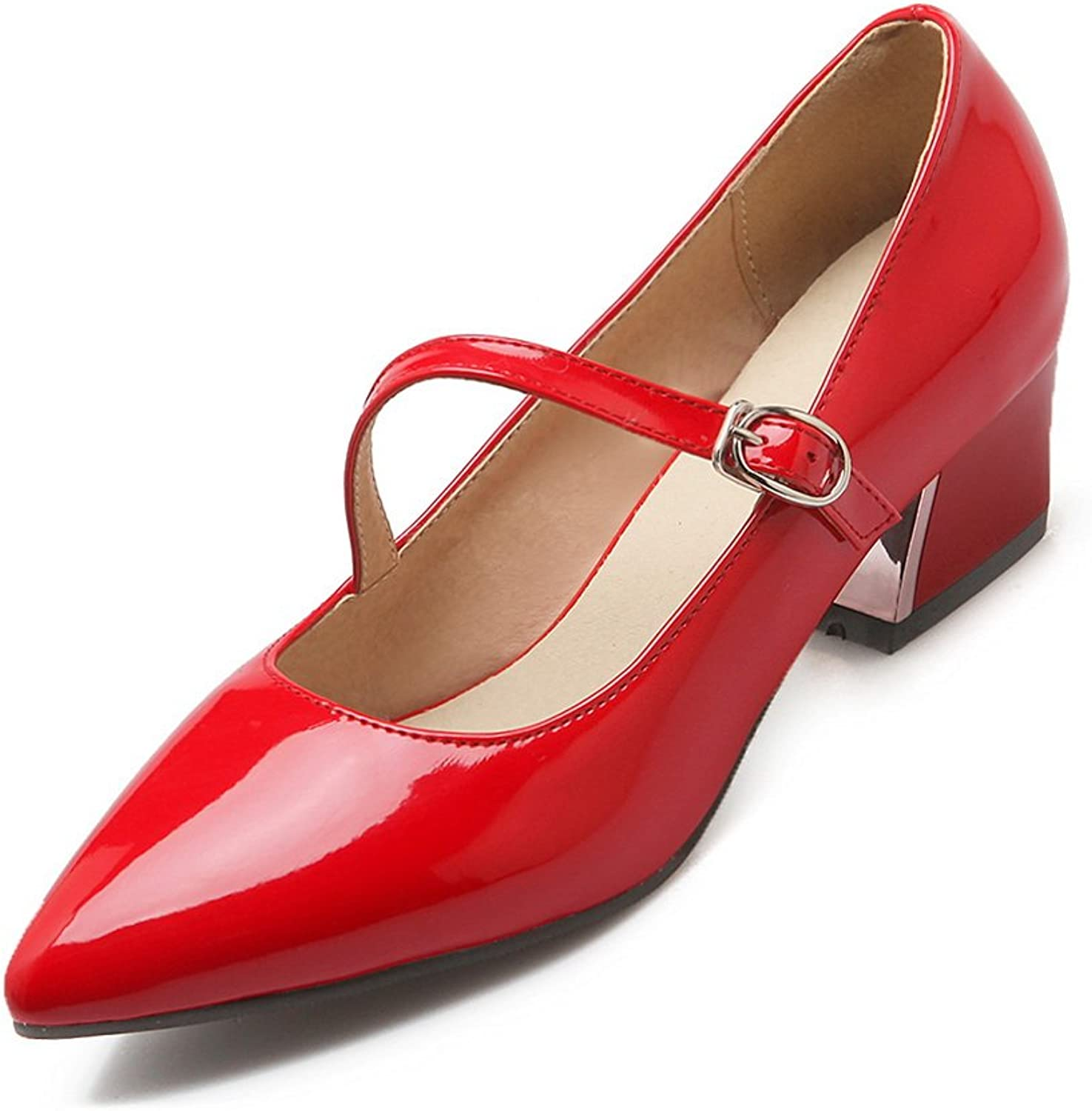 BalaMasa Womens Slip-Resistant Buckle Pointed-Toe Patent-Leather Pumps-shoes