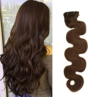 BESFOR Clip in Human Hair Machine Made Remy Hair 100% Human Hair Full Head 7pcs 16 Clips Long Curly Wavy Clip on Hair 18inch #8 Ash Brown