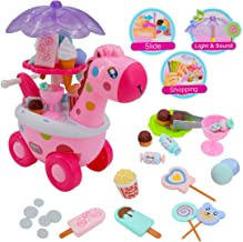 deAO Sweet Shop Candy and Ice Cream Cart Playset with LED Lights and Music Sounds Trolley Include 20 Accessories and Play Money (Pink Giraffe)