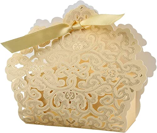 discount Larcele 2021 20pcs Candy Boxes with Ribbons Sweet wholesale Gift Favors for Wedding XTH-02 (Gold) online sale