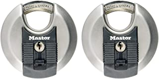 MASTER LOCK Disco Lucchetti ad Alta Sicurezza [Chiave] [Acciaio Inox] [Esterno] [Set di 2] M40EURT - Ideale per Portali, G...