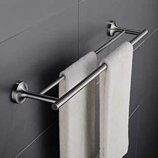 Eamy Double Bath Towel Bar 24 Inch, Stainless Steel Towel Rack for Bathroom Towel Holder Brushed Finish, Wall Mount 43008-C16-2