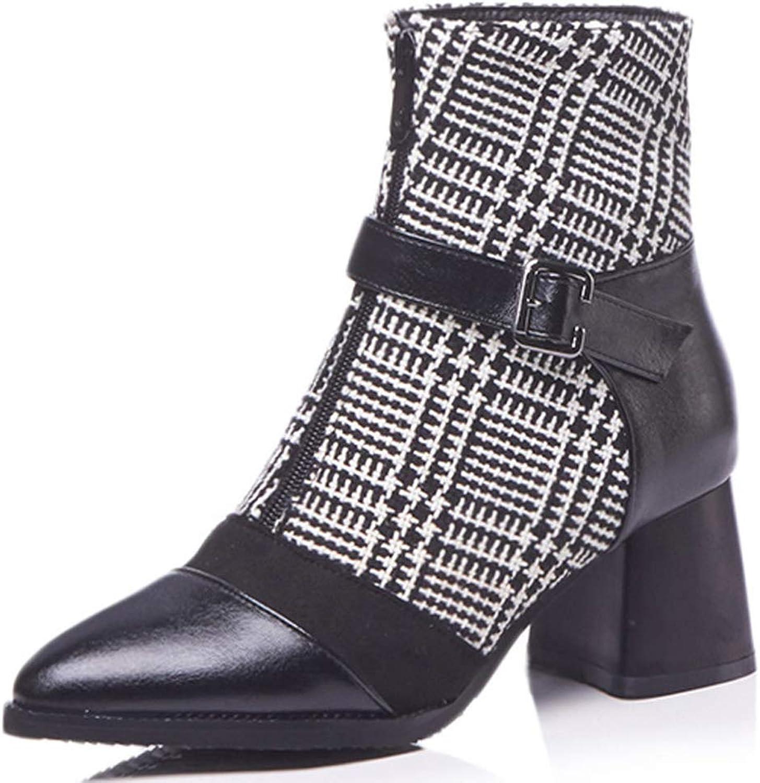 CITW Damenstiefel High Heels Großformat Stiefel Vorne Reißverschluss Damenstiefel Fashion Fashion Fashion Stiefel Gürtelschnallen Niedrige Stiefel,schwarz,UK3 EUR37  924560