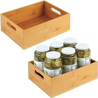 mDesign caisse de rangement pour la cuisine – boite en bois large avec poignées – boite en bambou pour rangement d'ustensi...