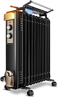 Radiador de calefacción negro de 2000 vatios, calentador eléctrico de aceite de calefacción de la habitación del hogar 11 para el dormitorio, termostato ajustable del calentador del radiador