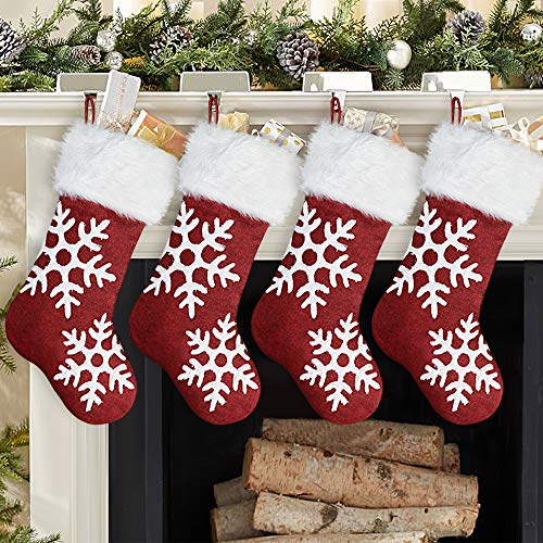 Ivenf Christmas Stockings, 4 Pcs 19 inches Burlap Large Snowflakes Plush Faux Fur Stockings, for Family Holiday Xmas Party Decorations, Red or White