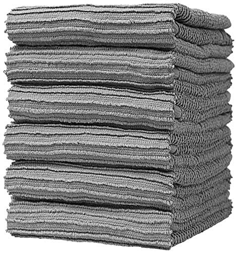"""Premium Kitchen Towels - Large Cotton Kitchen Hand Towels - 6 Pack - Ribbed (16"""" x 26"""") and Popcorn (16"""" x 28"""") Design - 430 GSM Highly Absorbent Tea Towels Set with Hanging Loop (Grey, Ribbed)"""