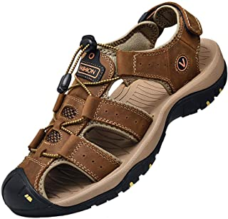 Sports Outdoor Sandals Summer Men's Beach Shoes Closed-Toe Shoes Leather Casual Trekking Walking Hiking Touch Close Strap ...