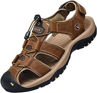 Sandales Homme Cuir Marche Randonnée Fermées Été Extérieur Chaussures de Sport Plage Chaussures d'eau Plage Closed-Toe 38-48