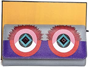 Fendi Monster Long Crayons Powder Blue Multi Color Creature Calfskin Leather Wallet 8M0251