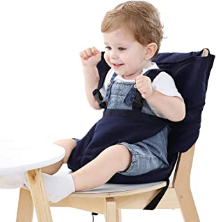 Easy Seat Portable Travel High Chair Safety Washable Cloth Harness for Infant Toddler Feeding with Adjustable Straps Shoulder Belt (Blue)