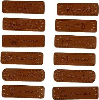 Supvox 24 peças de couro PU feito à mão etiquetas para roupas acessórios de vestuário