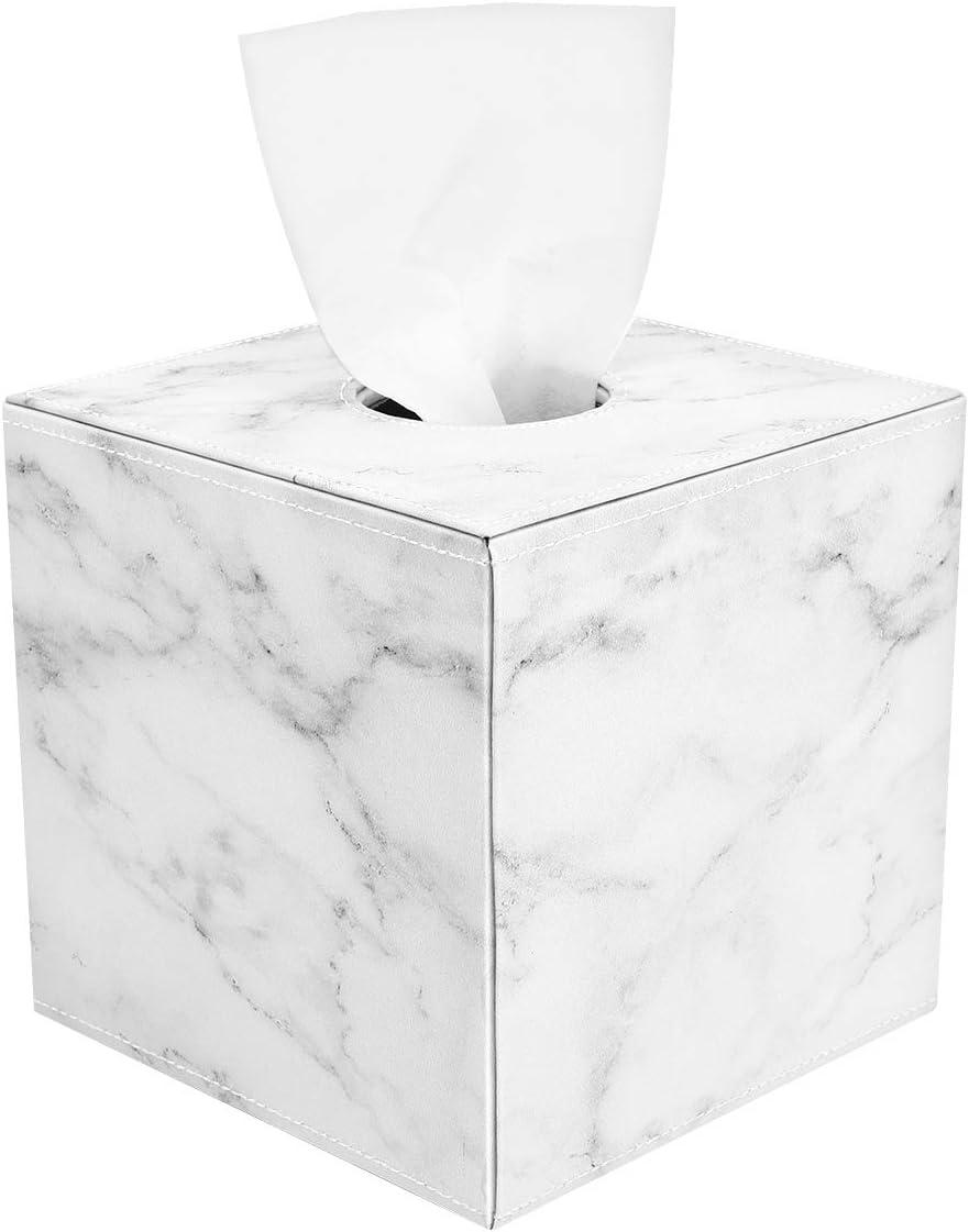 Luxspire Caja de Servilleta para Papel en Rollo de Cuero, Dispensador de Caja para Facial Tissue, Tejido, Paple Higiénico Utiliza Decoración del Hogar del Baño, Oficina, Dormitorio, Mármol Blanco