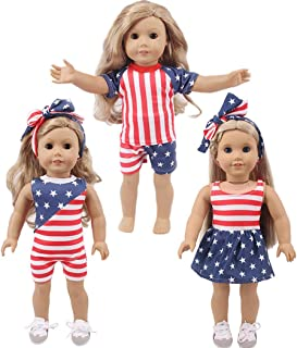 yeesport 3 Sets 18 Inch Doll Summer Outfits Fashion Doll Dressing Set Doll Outfits Set Girl Doll Clothes Set Girl Doll Sum...