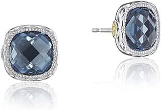 SE24733 Sterling Silver London Blue Topaz Cushion Gem Earrings