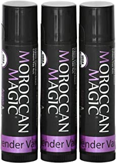 Moroccan Magic Organic Lavender Vanilla Lip Balm 3 Pack | Made with Natural Cold Pressed Argan and Essential Oils Lip Balm...