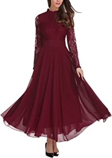 Women's Vintage Floral Lace Long Sleeve Ruched Neck Flowy Long Dress L