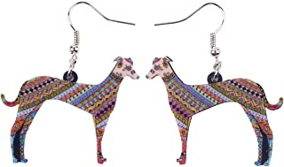 BONSNY Acrylic Drop Greyhound Dog Pets Earrings Funny Design Lovely Gift for Girl Women Fashion Jewelry