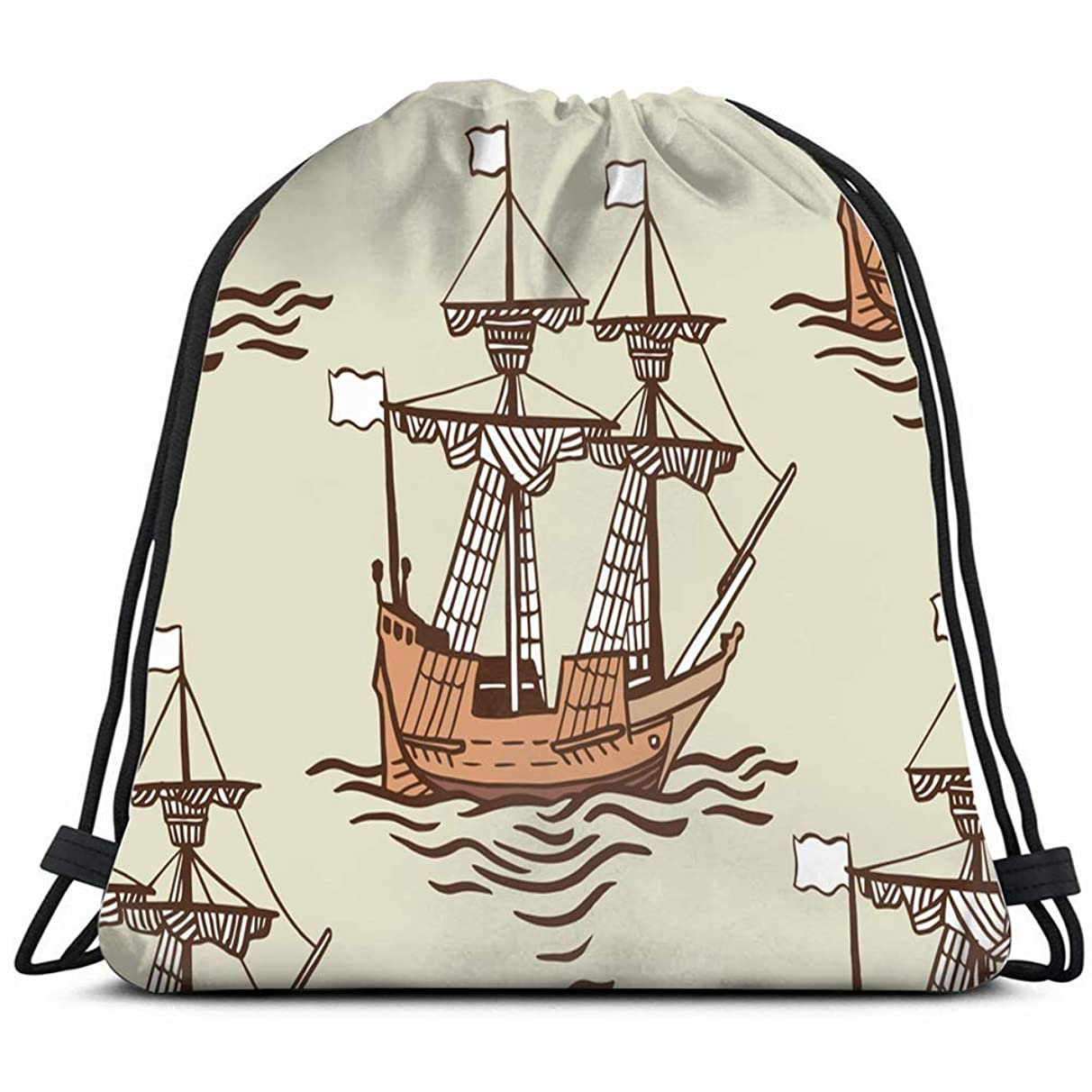 hand drawn old ship sailboat adventure transportation Drawstring Backpack Gym Sack Lightweight Bag Water Resistant Gym Backpack for Women&Men for Sports,Travelling,Hiking,Camping,Shopping Yoga