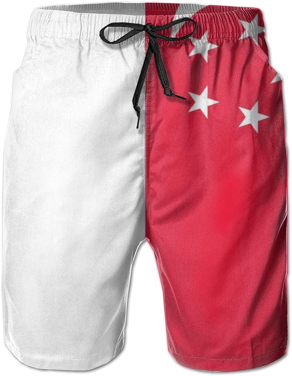 All items free shipping Yt92Pl@00 Men's 100% Polyester Singapore Swim Pr Trunks 3D Mesa Mall Flag