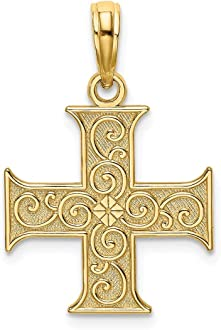 FB Jewels 14k Yellow and Rose Two Tone Gold Lace Trim Crucifix with Pink Jesus Pendant