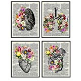 Organs & Flowers Dictionary Wall Art Decor Set - 8x10 Vintage Upcycled Unframed Prints for Home or Doctor Office - Unique Steampunk Goth Room Decor - Gift for Doctor, Nurse, PA, Med Student