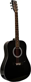 Huntington GA41PS-BK Black Dreadnaught Steel String Acoustic Guitar with 1 String Winder, 2 String Sets and 3 Premium Picks