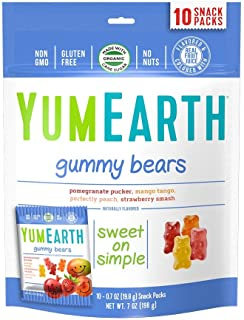 YumEarth Gummy Bears, Assorted Flavors, 10 Snack Packs Per Bag (Pack of 12)