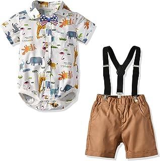 Baby Boys Formal Outfit Infant Boys Gentleman Clothes Toddler Suit Set Short Sleeve Romper Shirt+Pants+Bow Tie+Suspender 4pcs