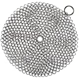 Hulless Chainmail Scrubber 7x7 inch Stainless Steel Cast Iron Pot Cleaner, Durable Anti-Rust Scrubber for Cookware, with Hanging Ring, Round.