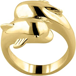 Perfect Memorials Tranquil Dolphins 14k Gold Vermeil Cremation Ring Size 8