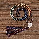 handmade 7 chakra multi colori pietra naturale 108 mala collana per perline con nappa meditazione gioielli amici regali