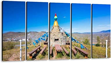 5 Panel ovoo in mongolia, shaman adak tree, prayer's flag rebirths and Canvas Pictures Decoration Home Modern Landscape Unframed Artwork for Living Room Bedroom Decor Wall Art Pictures