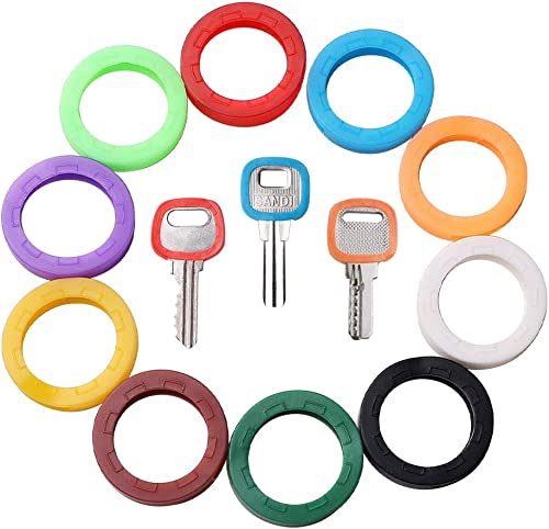 GoorDik 30x Key Caps Tags House Key Covers, Color Key Coded Key ID Rings, Upgraded Material & Modern Design, Strong T...