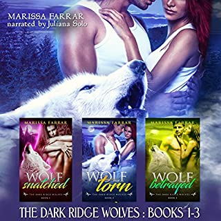 The Dark Ridge Wolves: Books 1-3                   By:                                                                                                                                 Marissa Farrar                               Narrated by:                                                                                                                                 Juliana Solo                      Length: 7 hrs and 19 mins     1 rating     Overall 3.0