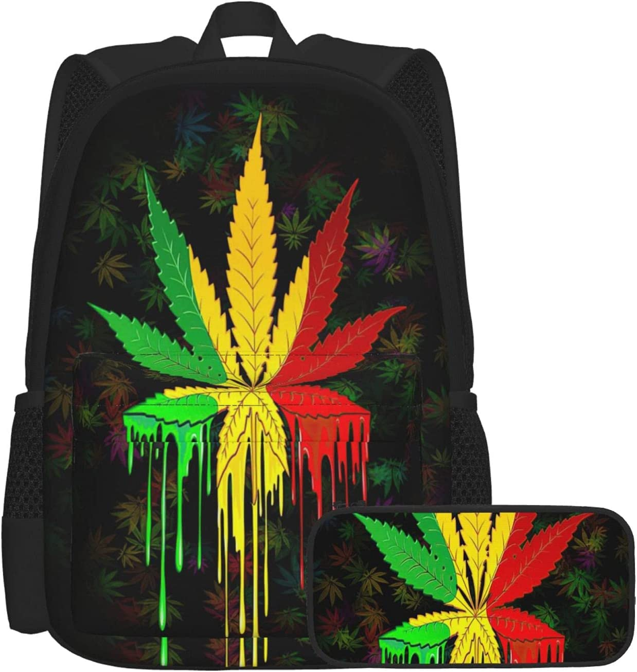 Psychedelic Cannabis Leaf Unisex free shipping In stock Boys Backpack School For