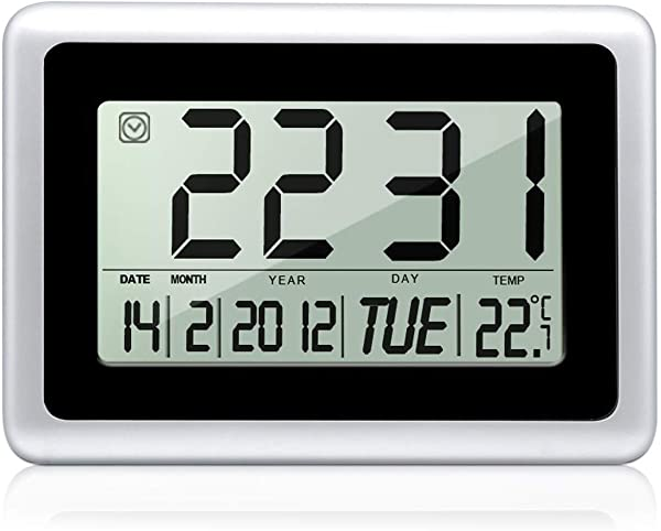 HeQiao Digital Wall Clock With Temperature Silver New Version