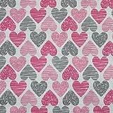 Neumann Handelsvertrieb - Tela de punto 100% algodón (165 cm de ancho), algodón, corazones, 100 x 165 cm