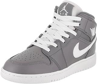 Jordan Air 1 Mid BG Big Kids Shoes Cool Grey/White/White 554725-036