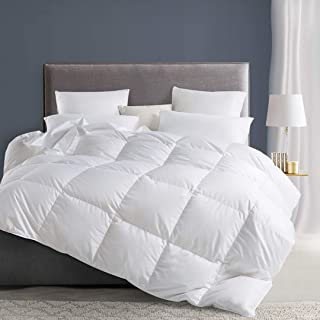 APSMILE All-Season Down Comforter King Size - 100% Cotton Puffy 550FP Hypoallergenic Goose Down Feather Comforter Duvet Insert (King,Ivory White)