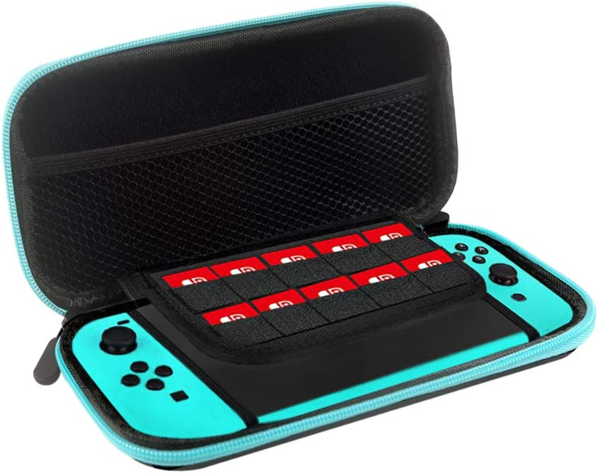 TOPROHOMIE Carrying Case for Nintendo Switch Lite - Nintendo Switch Lite Case Pouch + Cover Case + HD Screen Protector + Thumb Grips Caps for Nintendo Switch Lite and Accessories