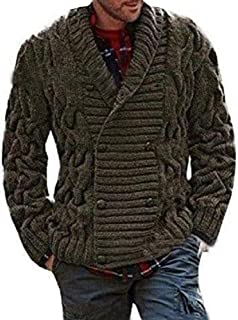 Mens Shawl Grandad Cardigan Warm Winter Knitted Jumper Chunky Classic Style Button Cardigans