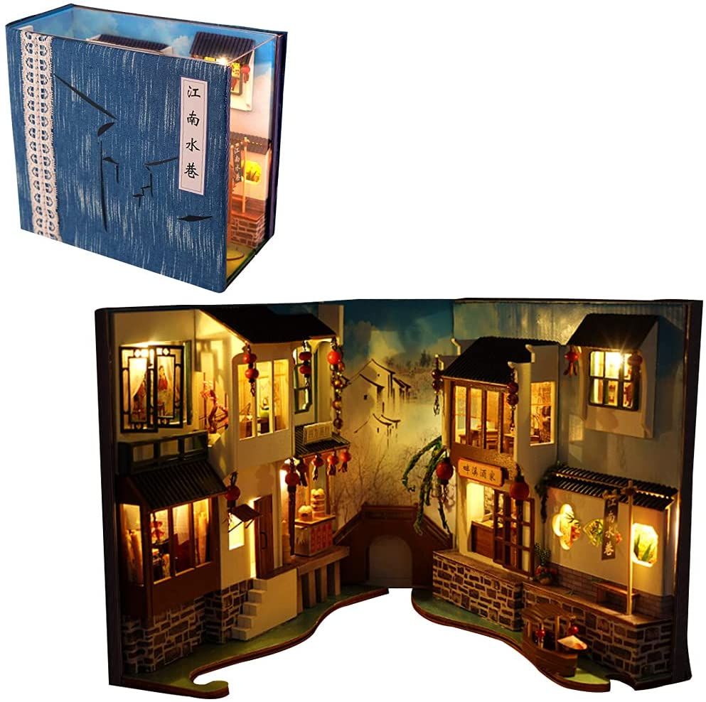 3D Wooden Book Max 60% OFF Stand Puzzle Dollhouse Wood Bookends low-pricing DIY Noo